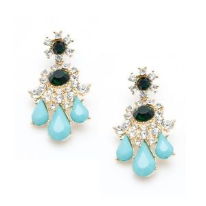Green and Turquoise Statement Crystal Earrings